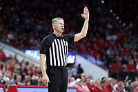 RALEIGH, NC - JANUARY 9: Official Jerry Heater during a game between Notre Dame and NC State at PNC Arena on January 9, 2020 in Raleigh, North Carolina.