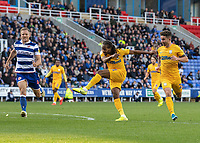 Preston North End's Daniel Johnson (centre) strikes the ball on target but is saved by Reading's Rafael <br /> <br /> Photographer David Horton/CameraSport<br /> <br /> The EFL Sky Bet Championship - Reading v Preston North End - Saturday 19th October 2019 - Madejski Stadium - Reading<br /> <br /> World Copyright © 2019 CameraSport. All rights reserved. 43 Linden Ave. Countesthorpe. Leicester. England. LE8 5PG - Tel: +44 (0) 116 277 4147 - admin@camerasport.com - www.camerasport.com