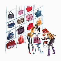 Two women admiring handbags ExclusiveImage