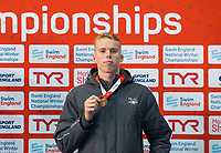 Picture by Allan McKenzie/SWpix.com - 17/12/2017 - Swimming - Swim England Nationals - Swim England National Championships - Ponds Forge International Sports Centre, Sheffield, England - Lewis Burrass with bronze in the mens 50m freestyle.