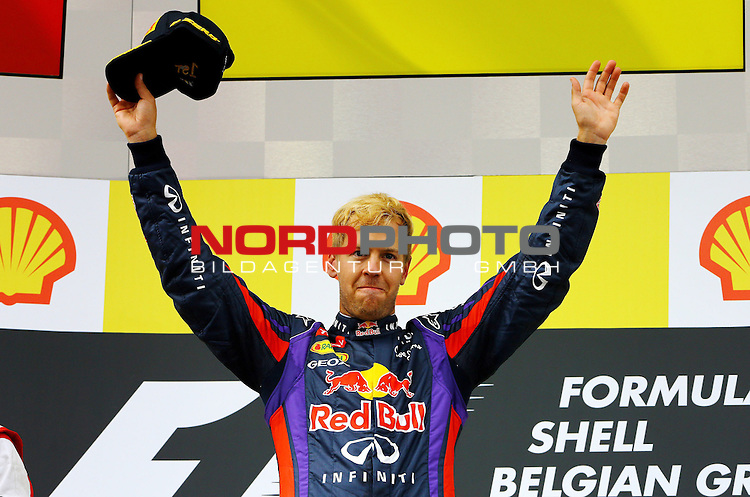 22.08 - 25.08.2013, Circuit de Spa, Francorchamps, BEL, F1, Grosser Preis von Belgien, im Bild  Podium - Sebastian Vettel (GER), Red Bull Racing <br /> for Austria &amp; Germany Media usage only!<br />  Foto &copy; nph / Mathis