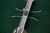 aerial photograph draw bridge Venetian Causeway Biscayne Bay Miami Florida