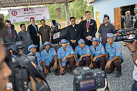 3 April, 2014 - Kampong Chhnang (Cambodia).  U.S. Ambassador William E. Todd poses with the team of underwater deminers at the CMAC training center in Kampong Chhnang during the Mine Action Demonstration Day 2014. © Thomas Cristofoletti / Ruom