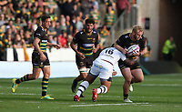 Northampton Saints's Mikey Haywood is tackled by Clermont Auvergne's John Ulugia<br /> <br /> Photographer Stephen White/CameraSport<br /> <br /> European Rugby Challenge Cup - Northampton Saints v Clermont Auvergne - Saturday 13th October 2018 - Franklin's Gardens - Northampton<br /> <br /> World Copyright © 2018 CameraSport. All rights reserved. 43 Linden Ave. Countesthorpe. Leicester. England. LE8 5PG - Tel: +44 (0) 116 277 4147 - admin@camerasport.com - www.camerasport.com