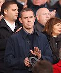 David Weir applauds the national anthems
