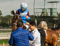 ARCADIA, CA  FEBRUARY 11: Mike Smith receives congratulations from trainer Carla Gaines after winning the Arcadia Stakes on February 11, 2017 at Santa Anita Park in Arcadia, CA. (Photo by Casey Phillips/Eclipse Sportswire/Getty Images)
