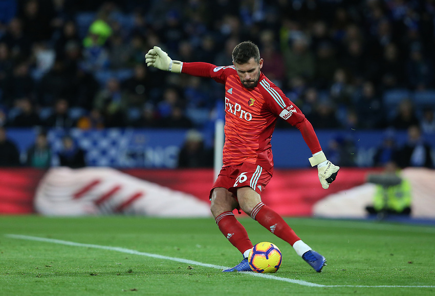 Watford's goalkeeper Ben Foster <br /> <br /> Photographer Stephen White/CameraSport<br /> <br /> The Premier League - Leicester City v Watford - Saturday 1st December 2018 - King Power Stadium - Leicester<br /> <br /> World Copyright © 2018 CameraSport. All rights reserved. 43 Linden Ave. Countesthorpe. Leicester. England. LE8 5PG - Tel: +44 (0) 116 277 4147 - admin@camerasport.com - www.camerasport.com