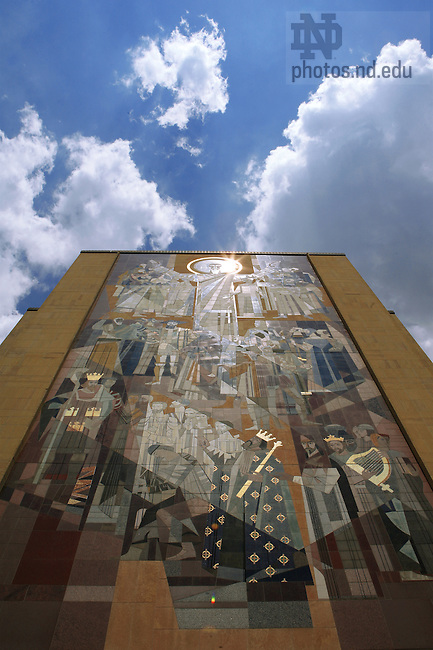 Hesburgh Library mural, a.k.a. Touchdown Jesus.<br /> <br /> Photo by Matt Cashore/University of Notre Dame
