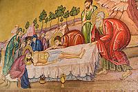 Asie/Israël/Judée/Jérusalem: Peinture du Christ mis au tombeau - Eglise du Saint Sépulcre