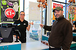 Finger Drought first customer through the tills at the opening of the Dealz new store in Lakeland retail Park, Cavan.<br /> <br /> Picture Fran Caffrey /Newsfile