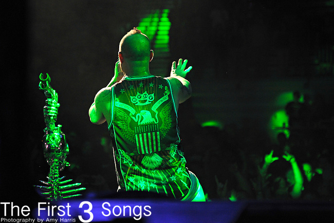 Ivan Moody of Five Finger Death Punch performs during the Trespass America Festival at Jacobs Pavilion at Nautica in Cleveland, Ohio.