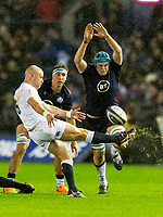 8th February 2020; Murrayfield Sadium, Edinburgh, Scotland; International Six Nations Rugby, Scotland versus England;  Sean Maitland of Scotland  attempts to block the kick from Willi Heinz of England
