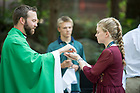 July 24, 2018; Grotto Mass for Pre-College Leadership Seminar students. (Photo by Barbara Johnston/University of Notre Dame)