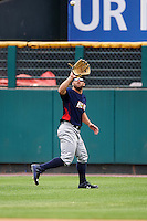 Toledo Mudhens right fielder Tyler Collins (18) catches a fly ball during a game against the Rochester Red Wings on June 12, 2016 at Frontier Field in Rochester, New York.  Rochester defeated Toledo 9-7.  (Mike Janes/Four Seam Images)