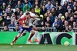 Real Madrid´s Danilo and Atletico de Madrid´s Saul Niguez during 2015/16 La Liga match between Real Madrid and Atletico de Madrid at Santiago Bernabeu stadium in Madrid, Spain. February 27, 2016. (ALTERPHOTOS/Victor Blanco)