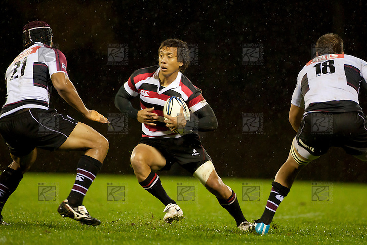 Tim Nanai Williams looks to step Malaki Ravulo. Counties Manukau Steelers pre season ITM Cup game against North Harbour played at Bayer Growers Stadium Pukekohe on Wednesday July 21st 2010..North Harbour won 22 - 21.