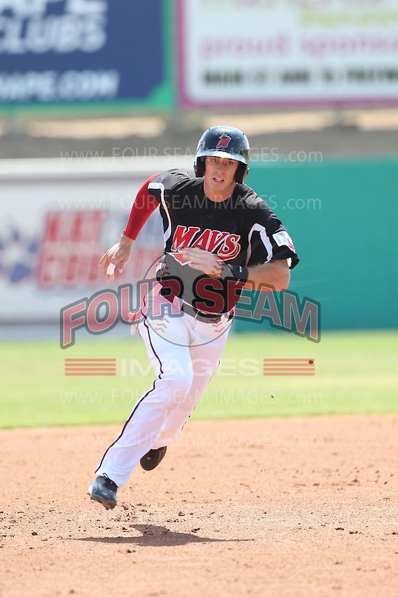 Ryan Cordell (9) of the High Desert Mavericks runs the bases during a game against the Bakersfield Blaze at Mavericks Stadium on May 18, 2015 in Adelanto, California. High Desert defeated Bakersfield, 7-6. (Larry Goren/Four Seam Images)