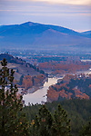 The Missoula Valley before sunrise with the Bitterroot River near its junction with the Clark Fork Riverr