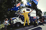 Aussie fans during Stage 3 of the 104th edition of the Tour de France 2017, running 212.5km from Verviers, Belgium to Longwy, France. 3rd July 2017.<br /> Picture: ASO/P.Ballet | Cyclefile<br /> <br /> All photos usage must carry mandatory copyright credit (&copy; Cyclefile | ASO/P.Ballet)