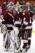 Eric Mihalik (Colgate - 29), Alex Evin (Colgate - 1), Austin Mayer (Colgate - 19) - The Harvard University Crimson defeated the visiting Colgate University Raiders 6-2 (2 EN) on Friday, January 28, 2011, at Bright Hockey Center in Cambridge, Massachusetts.