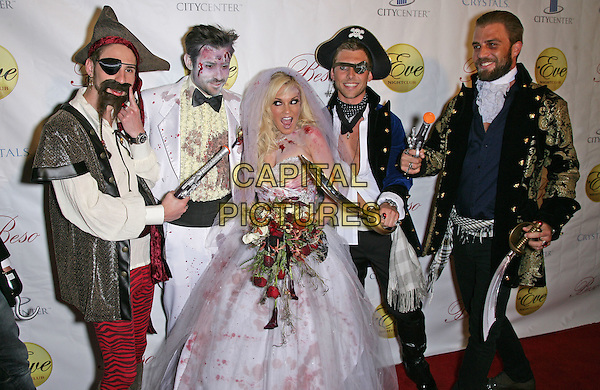 BRIDGET MARQUARDT.Bridget Marquardt Hosts Halfway to Halloween Costume Party at Eve Nightclub in Crystals at CityCenter, Las Vegas, Nevada, USA, 24th April 2010..half  length bride blood flowers veil white dress bouquet strapless make-up body paint wedding dress pirates friends guests swords fancy .CAP/ADM/MJT.© MJT/AdMedia/Capital Pictures.