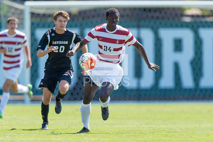 Stanford, CA - September 20, 2015: Adrian Alabi during the Stanford vs Davidson men's soccer match in Stanford, California.  The Cardinal defeated the Wildcats 1-0 in overtime.