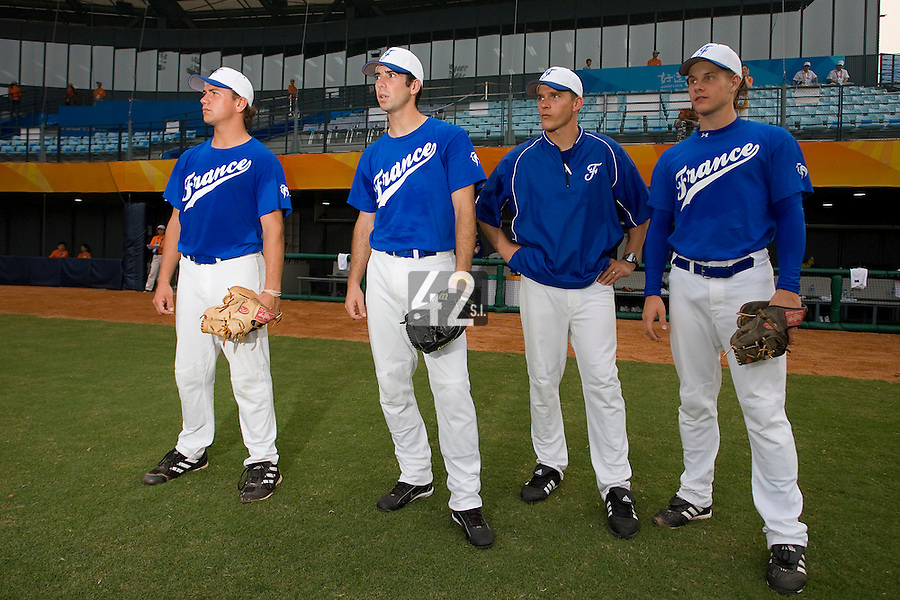 20 August 2007: From left to right Philippe Lecourieux, Pierrick Lemestre, coach Boris Rothermundt and Edouard Masse stand prior to the Czech Republic 6-1 victory over France in the Good Luck Beijing International baseball tournament (olympic test event) at the Wukesong Baseball Field in Beijing, China.
