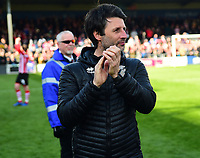Lincoln City manager Danny Cowley applauds the fans at the final whistle<br /> <br /> Photographer Andrew Vaughan/CameraSport<br /> <br /> The EFL Sky Bet League Two - Lincoln City v Cheltenham Town - Saturday 13th April 2019 - Sincil Bank - Lincoln<br /> <br /> World Copyright © 2019 CameraSport. All rights reserved. 43 Linden Ave. Countesthorpe. Leicester. England. LE8 5PG - Tel: +44 (0) 116 277 4147 - admin@camerasport.com - www.camerasport.com