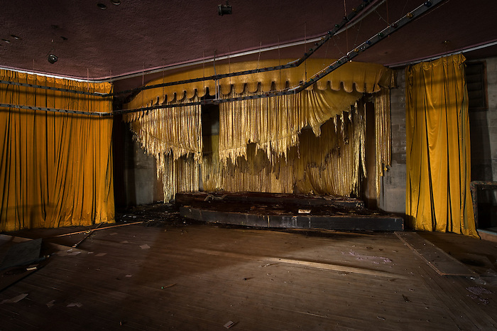 Interior View of the Stage in the theater of the Pines Hotel
