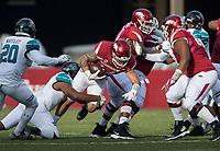 Hawgs Illustrated/BEN GOFF <br /> Shane Johnson, Coastal Carolina linebacker, tackles Austin Cantrell, Arkansas tight end, in the second quarter Saturday, Nov. 4, 2017, at Reynolds Razorback Stadium in Fayetteville.