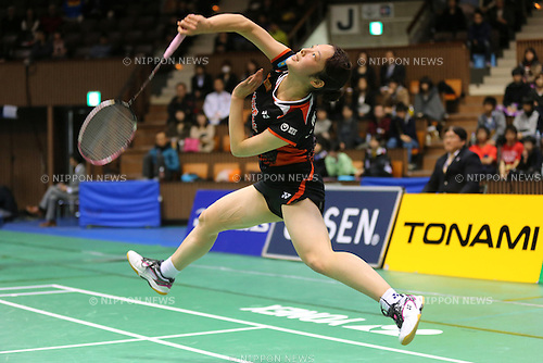 Minatsu Mitani (JPN), .December 9, 2012 - Badminton : .The 66th All Japan Badminton Championships 2012, Women's Singles Final .at Yoyogi 2nd Gymnasium, Tokyo, Japan. .(Photo by Daiju Kitamura/AFLO SPORT) [1045]