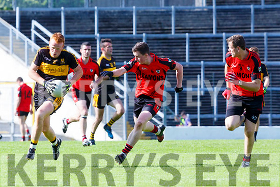 Johnny Buckley Dr Crokes takes onShane O'Sullivan Kenmare during their SFC clash in Fitzgerald Stadium on Sunday