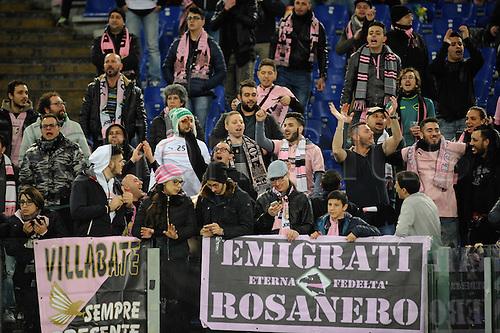 21.02.2016. Stadium Olimpico, Rome, Italy.  Serie A football league. AS Roma versus Palermo. FANS OF PALERMO