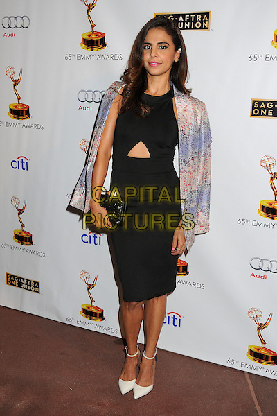 Azita Ghanizada<br /> Academy of Television Arts &amp; Sciences' Dynamic and Diverse 2013 Emmy Nominee Reception, North Hollywood, California, USA.<br /> September 17th, 2013<br /> full length black dress cut out away blue pink blazer over shoulders clutch bag <br /> CAP/ADM/BP<br /> &copy;Byron Purvis/AdMedia/Capital Pictures
