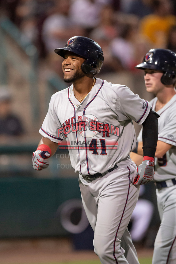 Lancaster JetHawks Luis Castro (41) is congratulated by teammates after hitting a home run during a California League game against the Lake Elsinore Storm on September 2, 2019 at The Diamond in Lake Elsinore, California. Lake Elsinore defeated Lancaster 4-3. (Zachary Lucy/Four Seam Images)