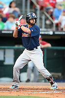 Pawtucket Red Sox shortstop Deven Marrero (29) at bat during a game against the Buffalo Bisons on August 23, 2014 at Coca-Cola Field in Buffalo, New  York.  Buffalo defeated Pawtucket 15-2.  (Mike Janes/Four Seam Images)