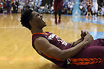 18 January 2015: Virginia Tech's Ahmed Hill reacts to being fouled while making a basket. The University of North Carolina Tar Heels played the Virginia Tech University Hokies in an NCAA Division I Men's basketball game at the Dean E. Smith Center in Chapel Hill, North Carolina. UNC won the game 68-53.