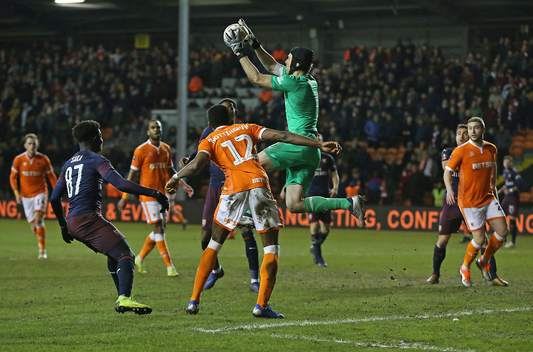 Arsenal's goalkeeper Petr Cech collects the ball in front of Blackpool's Michael Nottingham<br /> <br /> Photographer Stephen White/CameraSport<br /> <br /> Emirates FA Cup Third Round - Blackpool v Arsenal - Saturday 5th January 2019 - Bloomfield Road - Blackpool<br />  <br /> World Copyright &copy; 2019 CameraSport. All rights reserved. 43 Linden Ave. Countesthorpe. Leicester. England. LE8 5PG - Tel: +44 (0) 116 277 4147 - admin@camerasport.com - www.camerasport.com