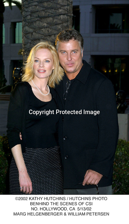 ©2002 KATHY HUTCHINS / HUTCHINS PHOTO.BENHIND THE SCENES OF CSI.NO. HOLLYWOOD, CA  5/13/02.MARG HELGENBERGER & WILLIAM PETERSEN