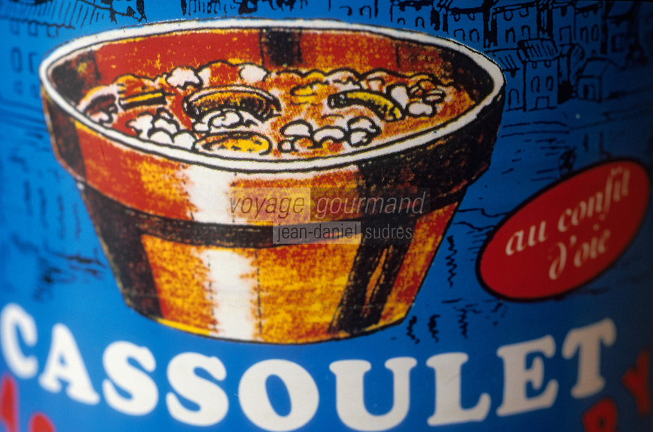 Europe/France/Languedoc-Roussillon/11/Aude/Castelnaudary: détail étiquette de boite de Cassoulet