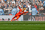 James McKeown of Grimsby Town attempts to save during a penalty shoot out during the 2015 Vanarama Conference Promotion Final match between Grimsby Town and Bristol Rovers at Wembley Stadium, London<br /> Picture by David Horn/eXtreme aperture photography +44 7545 970036<br /> 17/05/2015