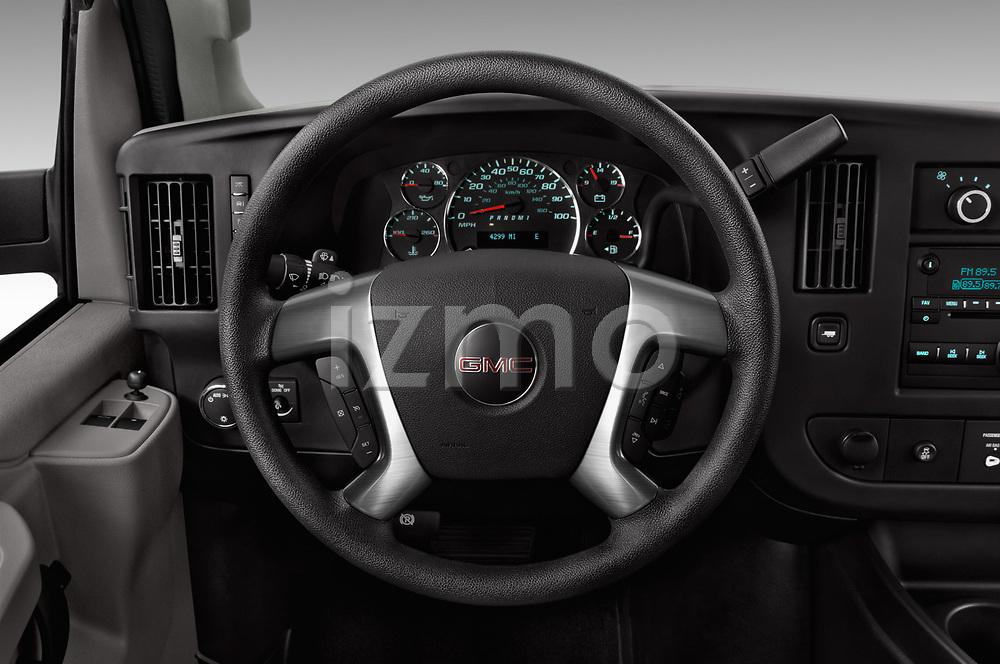 Car pictures of steering wheel view of a 2018 GMC Savana-Passenger 3500-LS-Ext 5 Door Passenger Van Steering Wheel