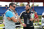 09 January 2015: DC United head coach Ben Olsen (right) with New England Revolution head coach Jay Heaps (left). The 2015 MLS Player Combine was held on the cricket oval at Central Broward Regional Park in Lauderhill, Florida.