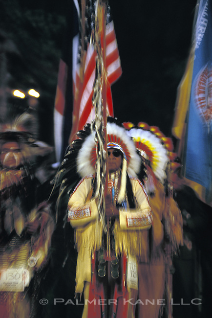 Native American color guard at a Ute Nation Pow Wow