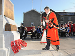 Mayor of Newtonabbey Billy Webb lays a wreath at the annual memorial cermony at the Cenotaph. Photo: Colin Bell/pressphotos.ie