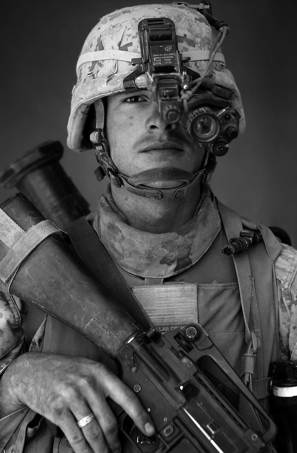 Cpl. Andrew Wingett, 22, Boise, Idaho, Second Platoon, Kilo Co., 3rd Battalion 1st Marines, United States Marine Corps, at the company's firm base in Haditha, Iraq on Sunday Oct. 22, 2005.