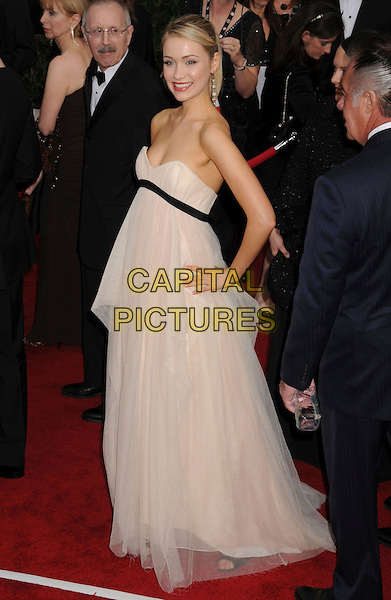 KATRINA BOWDEN.14th Annual Screen Actors Guild Awards held at the Shrine Auditorium, Los Angeles, California, USA..January 27th, 2008.SAG red carpet arrivals full length white cream strapless dress sheer black hand on hip .CAP/ADM/BP.©Byron Purvis/AdMedia/Capital Pictures. *** Local Caption *** .