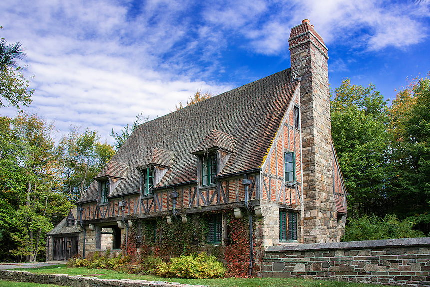 Tudor style gatehouse located by Jordon Pond within Acadia National Park, Maine, USA. Built by John D. Rockefeller