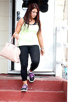 Deena pictured leaving Snooki's shore house during filming of The Jersey Shore Show season six in Seaside Heights, New Jersey on July 5, 2012  &copy; Star Shooter / MediaPunchInc *NORTEPHOTO.COM*<br />