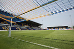 Mansfield Town's Field Mill stadium with the Ian Greaves Stand (left) standing ready for the new season during an open day held for the club's supporters. Mansfield Town achieved promotion back to England's Football League by winning the Conference National in season 2012-13. Field Mill was the oldest ground in the Football League, hosting football since 1861 although some reports date it back as far as 1850, with Mansfield Town having played there since 1919.